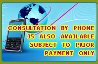 Consultation By Phone Is Also Available Subject To Prior Payment Only